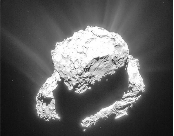 오리모양으로 된 67P혜성의 모습. 사진=ESA