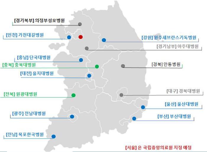 권역외상센터 선정?지정 현황(녹색: 2015년 선정기관, 파란색: 공식 개소 기관)
