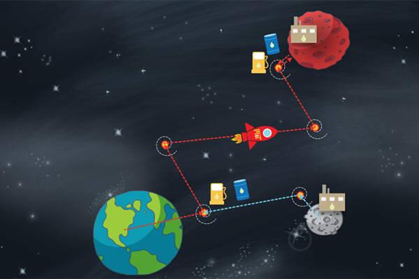 MIT연구진이 화성까지 가는 최적화방법으로 달에서 연료를 확보해 충전하는 방안을 제시했다. 사진=크리스틴 대닐로프/ MIT