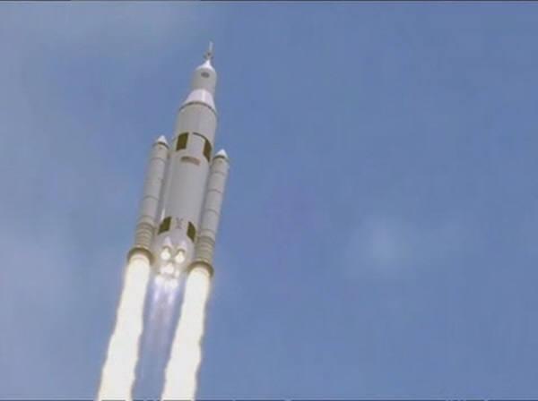 미항공우주국(NASA)이 공개한 가상의 화성 유인우주선 발사  모습. 사진=나사