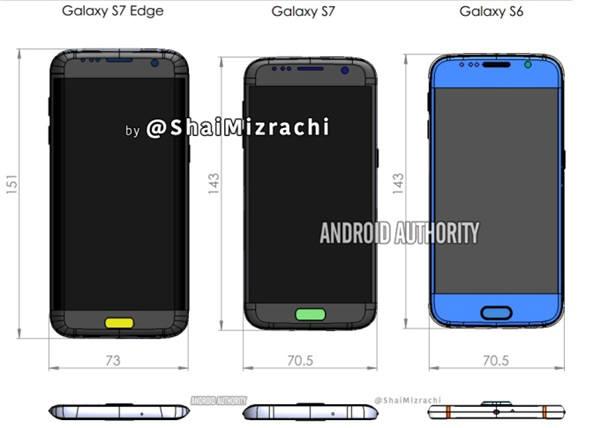 유출된 삼성의 차기 주력폰 갤럭시S7과 갤럭시S7 엣지의 규격. 사진=안드로이드 오쏘리티