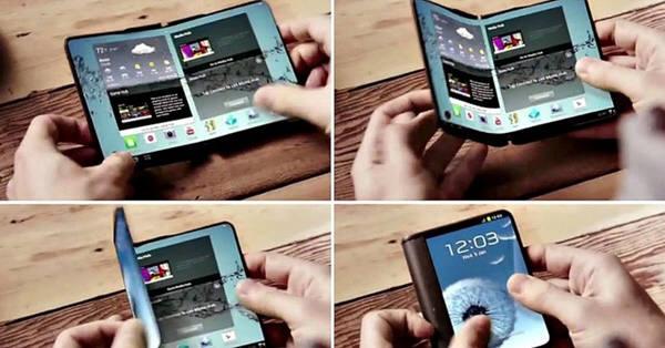 삼성이 만든 동영상 속에 등장하는 스크린이 접히는 스마트폰의 컨셉을 보여준다. HSBC분석가들은 삼성이 연내 이 단말기를 선보일 것이라는 보고서를 내놓았다.