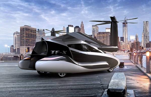 미국 매사추세츠 소재 테라푸가사는 2년후인 2018년 하늘을 나는 4인승 차량 TF-X를 내놓고 2024년에 시판에 들어갈 계획이다. 일러스트=테라푸가