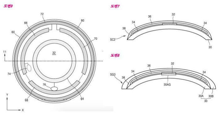 삼성전자가 특허를 출원한 `스마트 콘택트 렌즈` 도면.