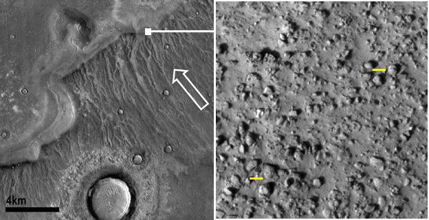 쓰나미 흔적을 나타내는 화성 표면