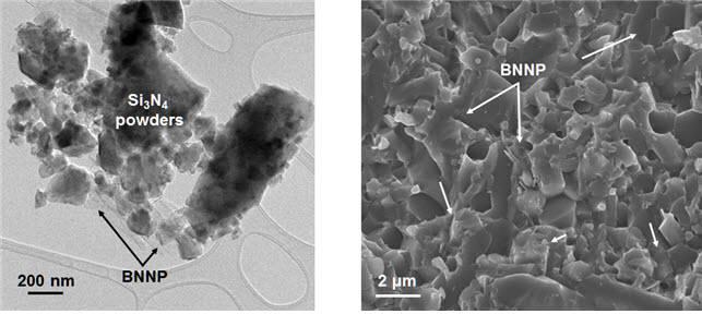 KAIST 연구진이 제조한 BNNP 강화 질화규소 나노복합분말 및 나노복합소재.