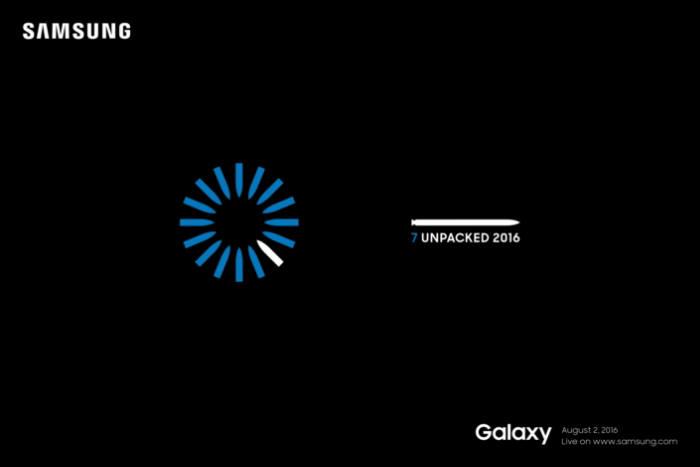 지난 13일 삼성전자가 공개한 갤럭시노트7 발표 예고장. 새로운 기능을 암시하듯 펜촉으로 홍채를 표현한 부분이 눈에 띈다(자료: 삼성전자).