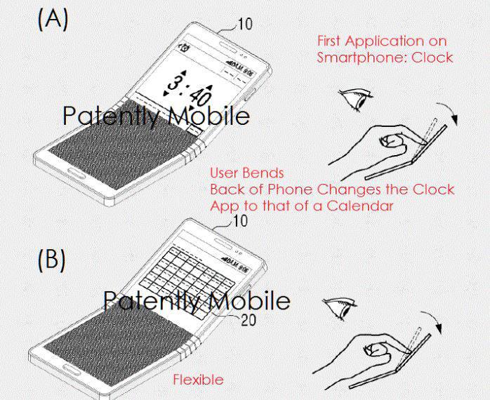 삼성전자가 美특허청에 출원한 스마트폰 절반을 손가락으로 눌러서 접을 수 있는 특허/사진=페이턴틀리 애플