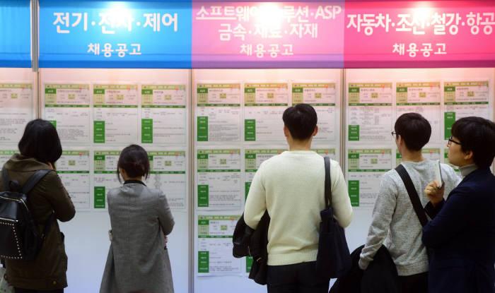 취업난이 갈수록 심각해지고 있다. 채용박람회에서 구직자들이 채용 정보를 살펴보고 있다.