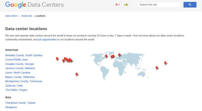 구글이 공개하는 데이터센터 위치<직접 캡처>