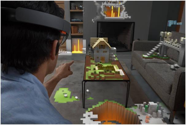 마이크로소프트 `홀로렌즈`로 증강현실을 이용해 거실에서 마인크래프트를 즐기는 장면<사진 마이크로소프트>
