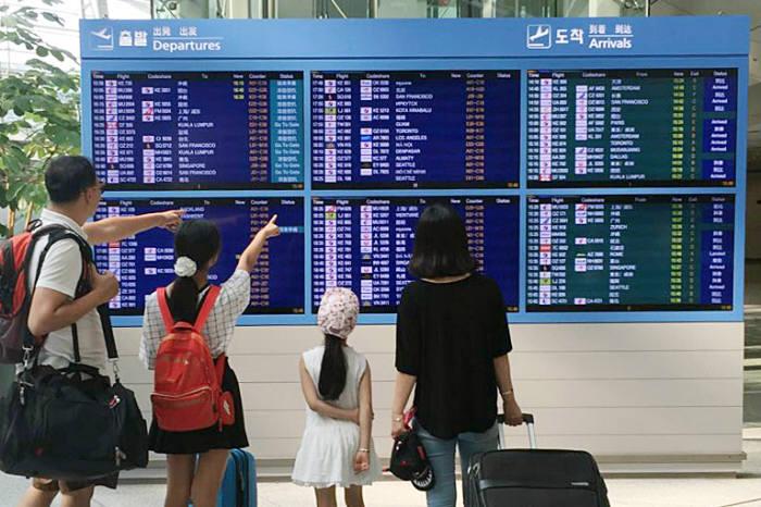인천국제공항공사 직원이 FIDS 점검을 하고 있다.