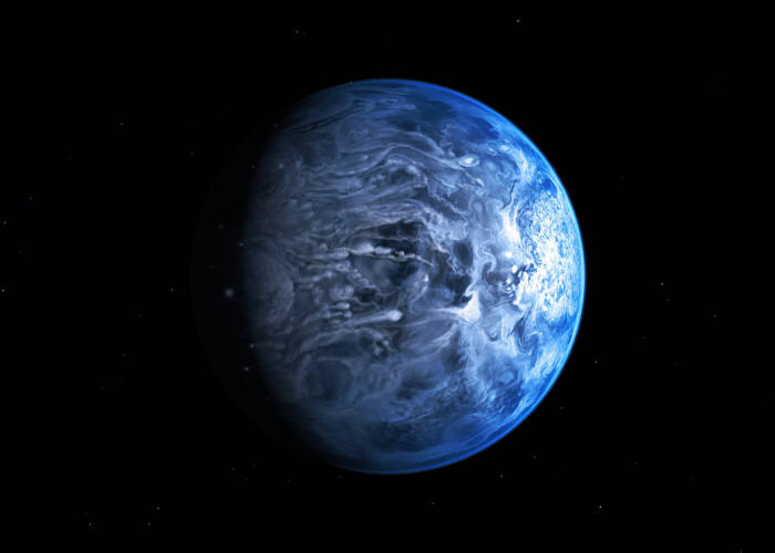 HD189733b 상상도. 목성 크기와 비슷하다. 출처 : ESO/M. Kornmesser