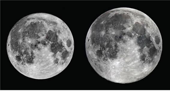 올해 가장 큰달(2016.11.14.)과 작은달(2016.4.22.) 비교사진-큰달이 작은달보다 14% 더 크다.