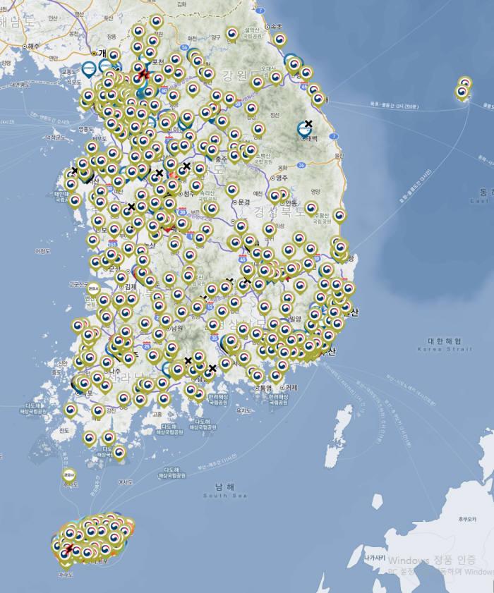 전국 전기차 충전소 위치도.(자료 다음/이브이웨어(EVWHERE))