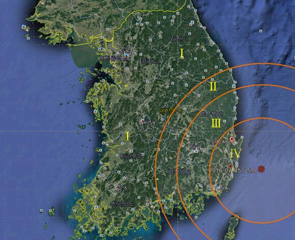 기상청이 발표한 9월 12일 경주지진 발생 위치와 분포도.