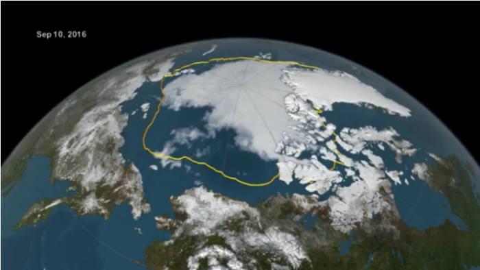 10월 기준 역대 최저치를 기록한 북극의 해빙 면적(출처:NOAA)