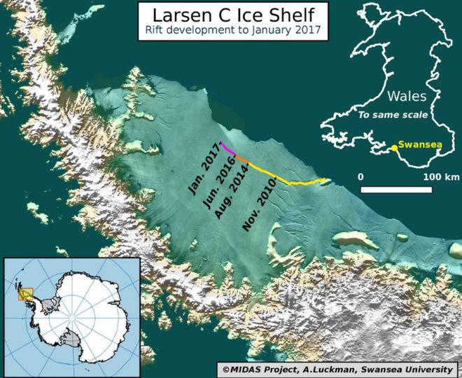 라르센C 빙붕의 균열 추이(자료 : 스완지대)