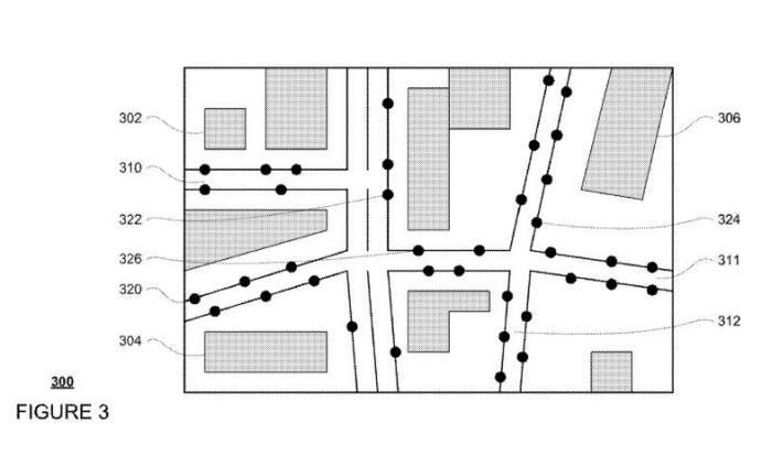 지도에는 도로, 건물 정보가 포함된다. 320부터 326은 주차, 대기, 탑승이 가능한 지점. / 자료:미국 특허상표청(USPTO)