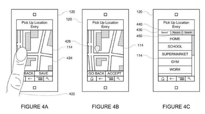 지도에서 픽업 장소를 선택한다. 이전 탑승 기록(430)에서 선택할 수도 있다. / 자료:미국 특허상표청(USPTO)