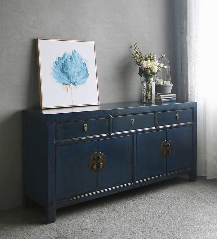미스모네 `Antique Blue Lacquer 빈티지 와이드 사이드보드`
