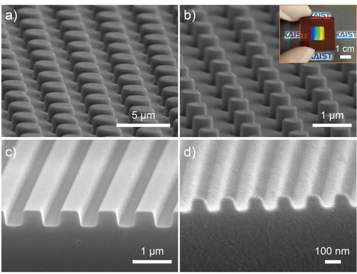 KAIST가 개발한 새로운 임프린트 리소그래피 기술로 제작한 마이크로, 나노 구조체. 100나노미터(nm) 이하 크기까지 구현할 수 있다.