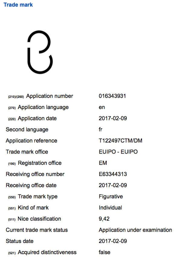 GSM아레나가 공개한 빅스비 상표권 등록 신청서.