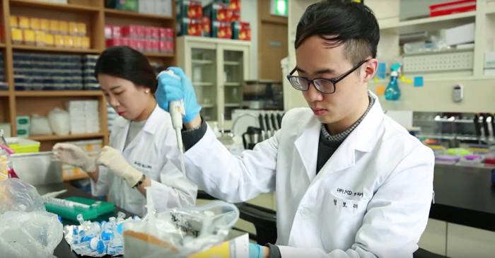 엠디헬스케어 연구진이 미생물 유래 나노 소포에 대해 연구하고 있다.(자료: 전자신문DB)
