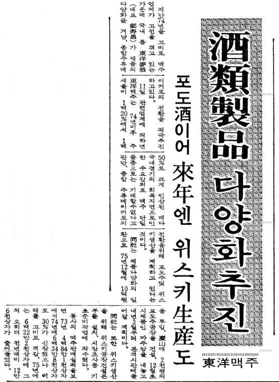 1976년 동양맥주가 와인 생산에 돌입했다는 1976년 11월 11일자 매일경제신문 기사. 사진=네이버 뉴스라이브러리 캡처