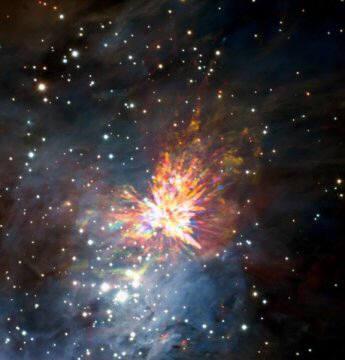 오리온성운 근처 'OMC-1'에서 관측된 별 폭발 모습