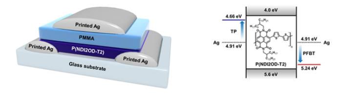 잉크젯 프린팅 공정을 이용해 제작한 소자구조와 하나의 반도체 물질로 n형과 p형 반도체를 동시에 구현하는 원리를 설명하는 모식도