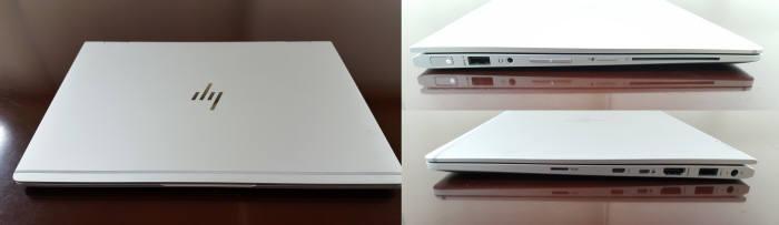 HP 엘리트북 x360은 심플하면서도 견고한 디자인을 자랑한다. 왼쪽 사진은 노트북에서 지원하는 다양한 포트. 사진=황재용기자