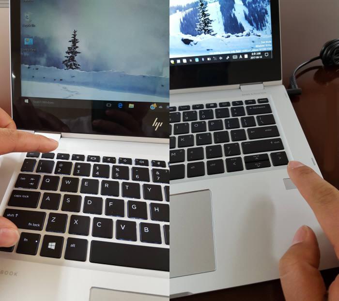 (왼쪽부터)HP 엘리트북 x360 보안의 핵심인 HP 슈어 뷰(HP Sure View) 기능과 지문인식 패드를 사용하는 장면. 사진=황재용기자