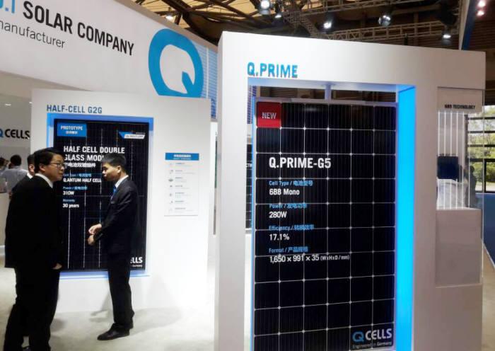 한화큐셀이 중국 SNEC에 전시한 큐프라임-G5 태양광모듈. [자료:한화큐셀]