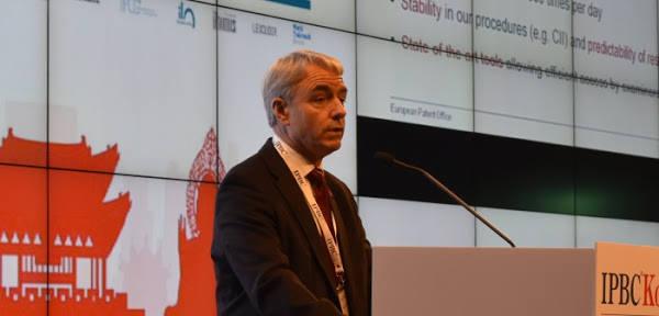 28일 열린 'IPBC코리아'에서 그렌트 필포트 유럽특허청 정보통신기술 수석이사가 기조연설을 하고 있다.