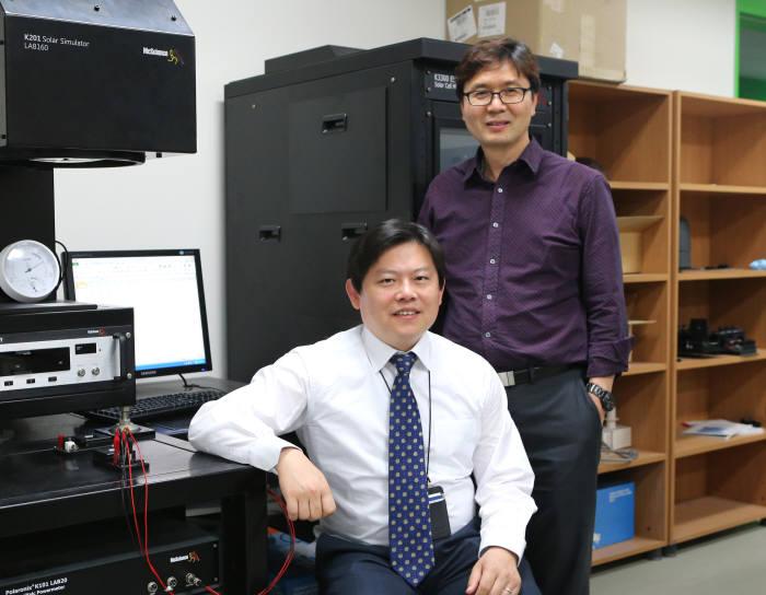 이산화탄소를 메탄으로 바꾸는 고효율 광촉매를 개발한 인수일 DGIST 에너지시스템공학전공 교수(앉은이)와 유종성 교수.