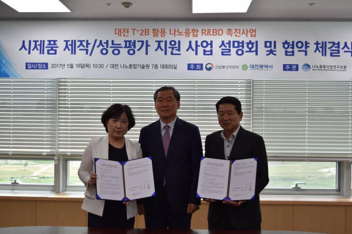 왼쪽부터 안정희 에이티 대표, 김정홍 대전광역시 과장, 한상록 나노융합산업연구조합 전무