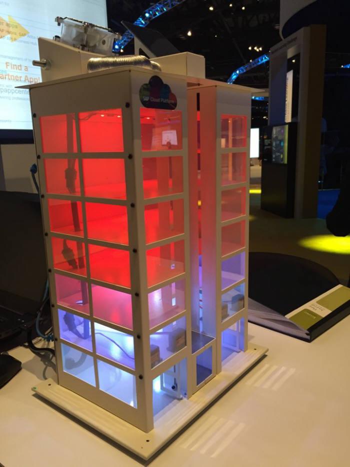 비상 상황등이 켜진 스마트 빌딩 모형