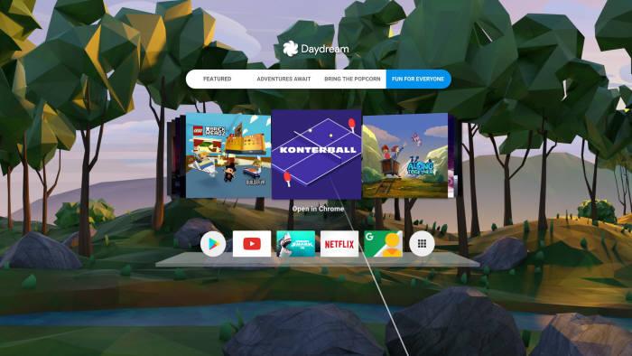 구글 데이드림 구동 화면