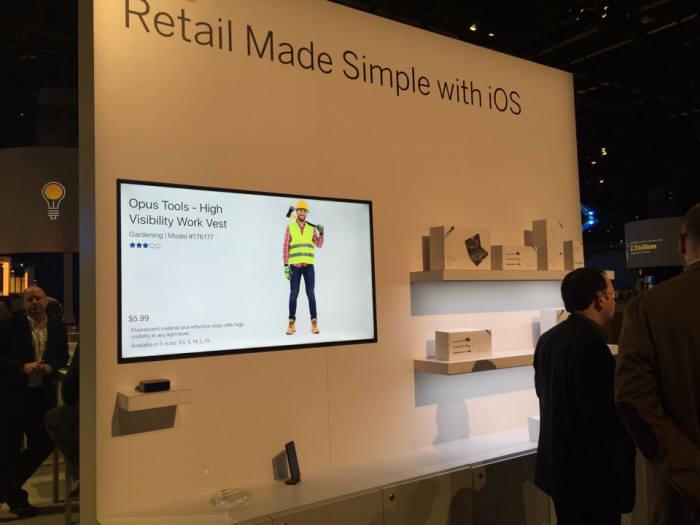 미국 올랜도에서 열린 SAP 사파이어나우 행사장에 위치한 애플 부스. 리테일 지원 시스템을 선보이고 있다.