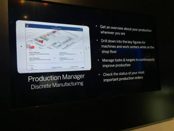 미국 올랜도에서 열린 SAP 사파이어나우 행사장에 애플이 부스를 마련했다. 3D 프린팅 등 제조 관련 관리 시스템을 소개하는 화면.