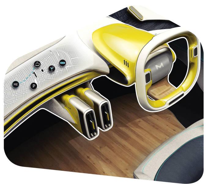 머크가 제안한 플렉시블 디스플레이를 적용한 자동차 대시보드 디자인 (사진=머크)