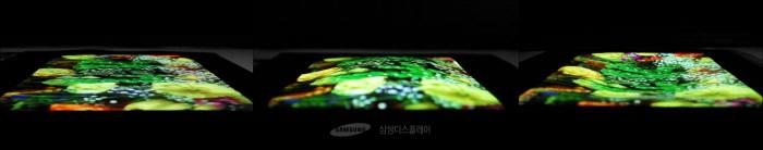 삼성디스플레이는 SID 2017에서 세계 최초의 9.1인치 스트레처블(stretchable) OLED를 공개했다. 화면을 누르면 최대 12mm까지 늘어난다. (사진=삼성디스플레이)