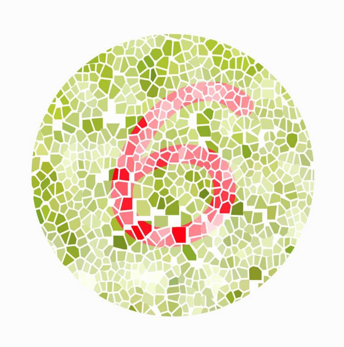 적록색맹을 확인하기 위한 색각테스트용지 (출처: Shutterstock)
