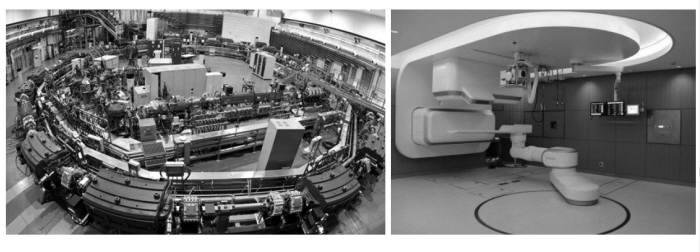 중입자 가속기(왼쪽)와 중입자 치료실(자료: KEIT)