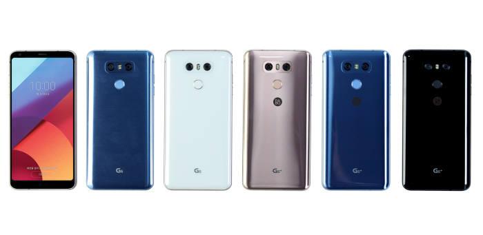 LG G6플러스와 32GB 내장메모리를 갖춘 LG G6 색상별 모델.