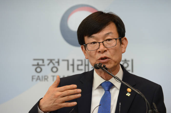 김상조 공정거래위원장이 기자간담회에서 발언하고 있다.