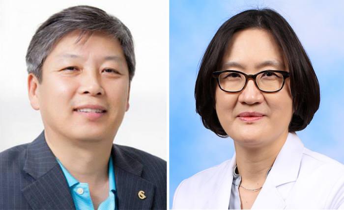 뇌출혈을 지혈할 수 있는 단백질을 발견한 DGIST 동반진단의료기술융합연구실 전원배 책임연구원(왼쪽)과 이종은 연세대 의대 교수.