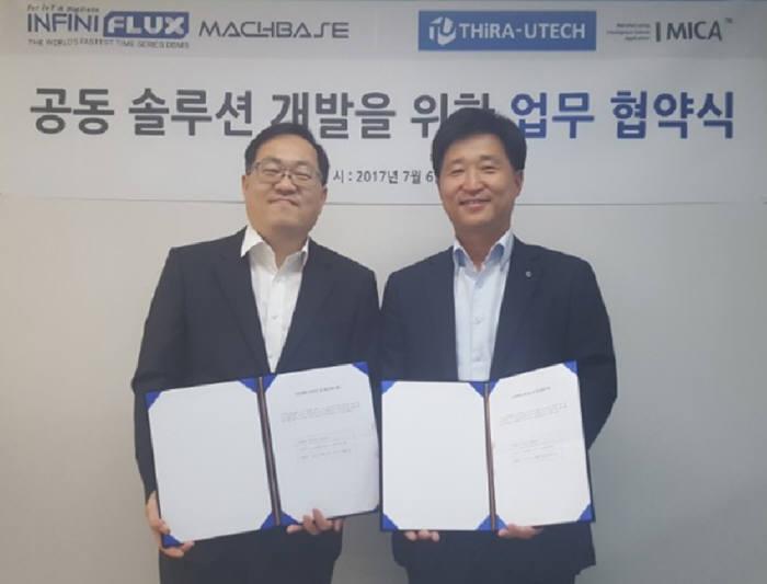 김성진 인피니플럭스 대표(왼쪽)와 김정하 티라유텍 대표가 업무협약 체결 후 기념촬영했다.