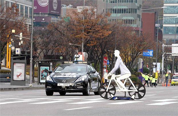 미래부와 현대자동차가 추진중인 자율주행차 도로시연모습.